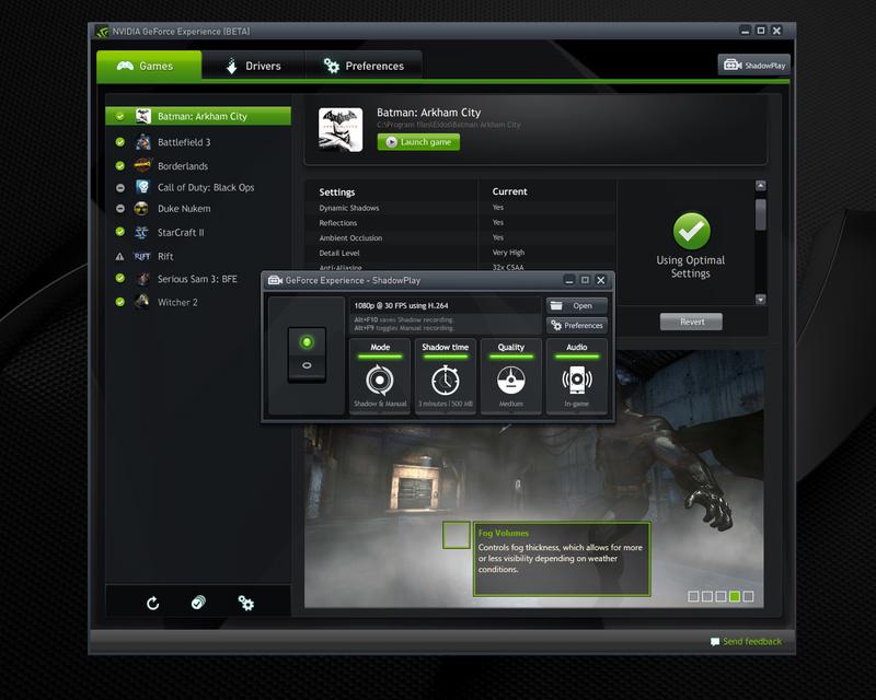 ShadowPlay — технология записи игрового видео от NVIDIA